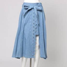 ダズリン dazzlin 【sw】スカラップ刺繍ダンガリースカート (アイスブルー)