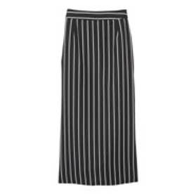 エモダ EMODA 【M】color stripeストレートミディSK (ブラック)