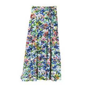 ラグナムーン LAGUNAMOON Water color flowerマキシスカート (ブルー)
