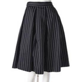 ラグナムーン LAGUNAMOON ストライプタックフレアースカート (ブラック)