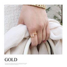モードローブ MODE ROBE V字ビジューデザインリング  指輪 (ゴールド)