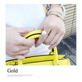 モードローブ MODE ROBE パールU型 幅広リング 指輪 (ゴールド)