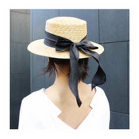 モードローブ MODE ROBE ロングリボン カンカン帽 (ブラック)