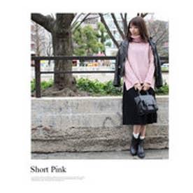 モードローブ MODE ROBE ニット×プリーツスカート レイヤードセット (スカート(BLK)×S(PNK))