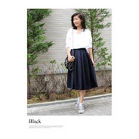 モードローブ MODE ROBE カラーフレアスカート (ブラック)