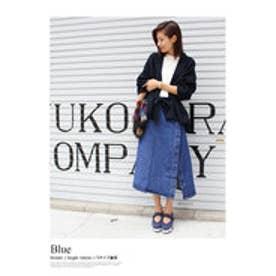 モードローブ MODE ROBE デニムラップスカート (ブルー)