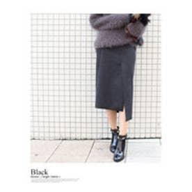 モードローブ MODE ROBE アシンメトリースウェードスカート (ブラック)