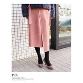 モードローブ MODE ROBE アシンメトリースウェードスカート (ピンク)