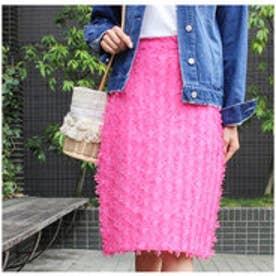 モードローブ MODE ROBE ドットカラータイトスカート (ピンク)
