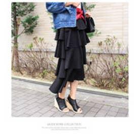 モードローブ MODE ROBE スウェットフリルロングスカート (ブラック)