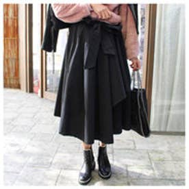 モードローブ MODE ROBE ミモレ丈フレアラップスカート (ブラック)