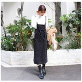 モードローブ MODE ROBE コーデュロイリボンサロペットスカート (ブラック)