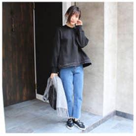 モードローブ MODE ROBE 裏起毛フレア裾絞りスウェット (ブラック)