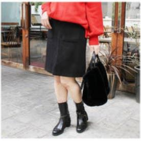 モードローブ MODE ROBE ポケット台形スカート (ブラック)