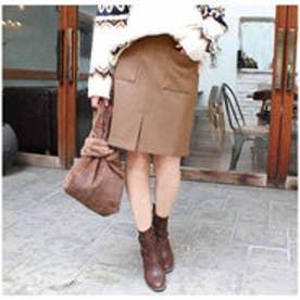 モードローブ MODE ROBE ポケット台形スカート (ブラウン)