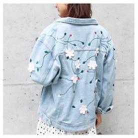 モードローブ MODE ROBE フラワー刺繍デニムジャケット (ライトブルー)