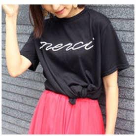 モードローブ MODE ROBE merci Tシャツ (ブラック)
