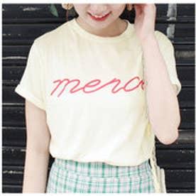 モードローブ MODE ROBE merci Tシャツ (クリーム)