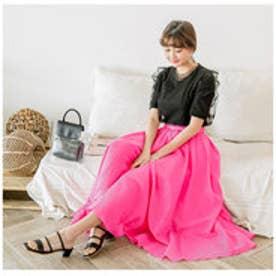モードローブ MODE ROBE カラーロングフレアスカート (ピンク)
