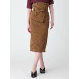 MURUA ナイロンツイルコルセットスカート(ブラウン)