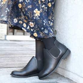 glitter エーシーデザイン バイ アルファキュービック ALPHA CUBIC 本革サイドゴアショートブーツ (ブラック)