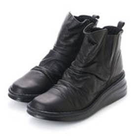 エーオーケー A-OK 【A-OK】本革サイドゴアショート丈ブーツ (ブラック)
