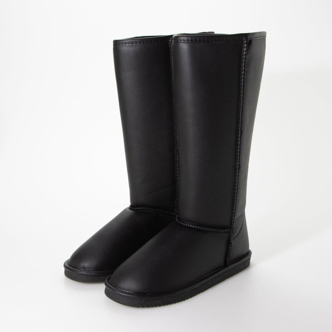 シューファンタジー Shoe Fantasy ムートンブーツ ロング (blackスムース) (ブラック)