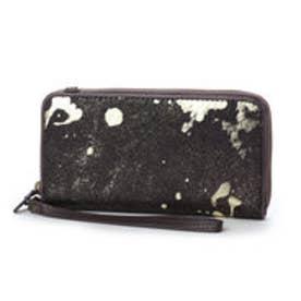 ボンヌ ジュルネ Bonne Journee 箔プリントラウンド型財布 (ブラウン)