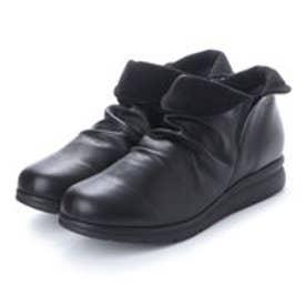 エスプレッソ Espresso 楽ちん 4E くしゅくしゅ柔らかレザーコンフォート ブーツ (ブラック)