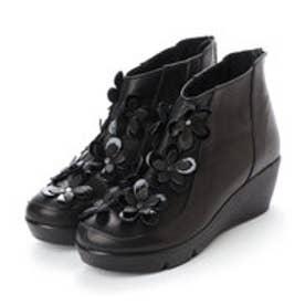 エスプレッソ Espresso 楽ちん ふかふか4E 厚ソールフラワーデザインブーツ (ブラック)