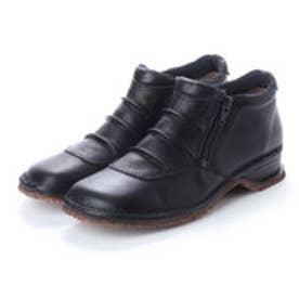 ミラスポーツ Milla Sports 楽ちんドレープデザイン ダブルファスナー ソフト牛革ブーツ (ブラック)