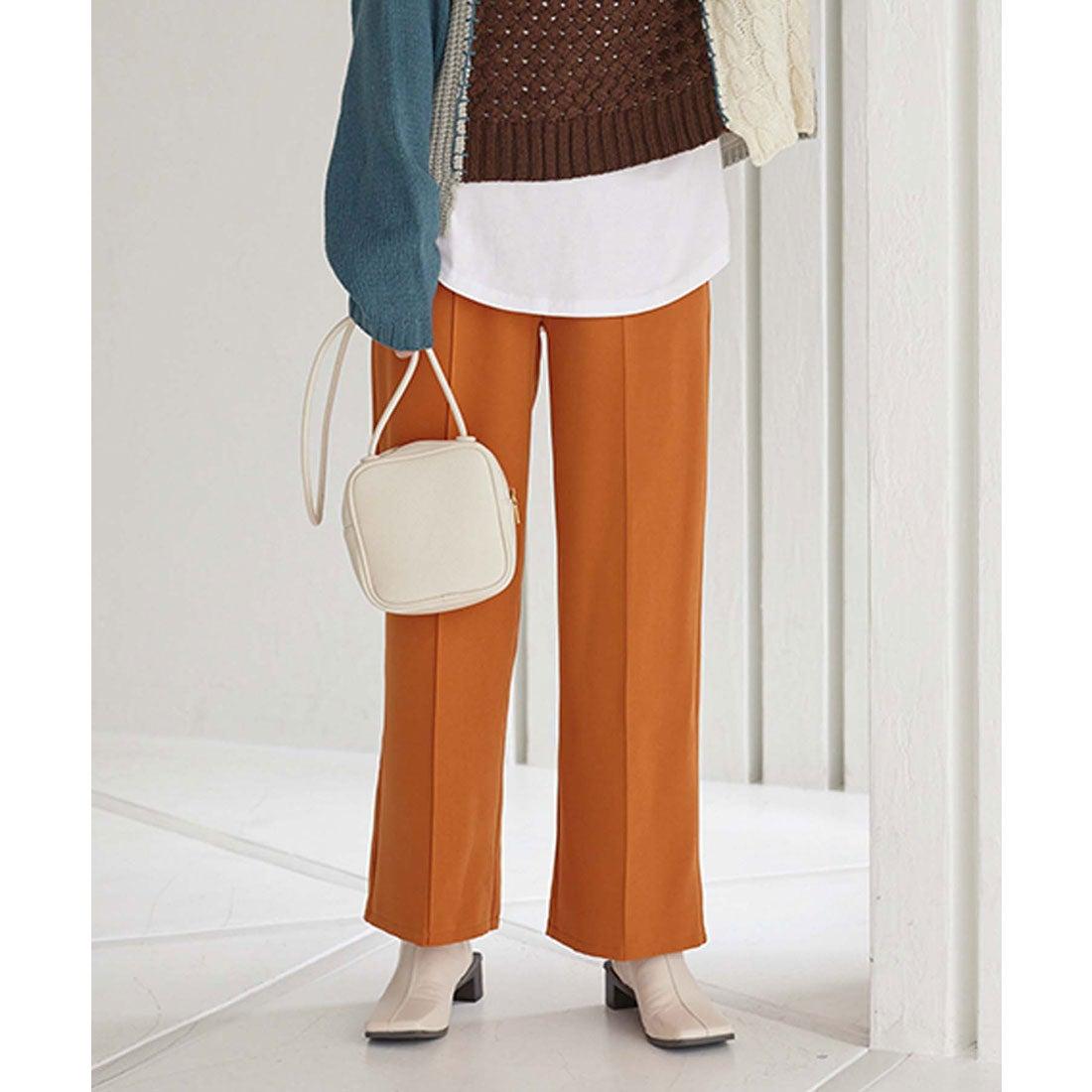 コウベレタス KOBE LETTUCE [ 裾上げテープ付 ]セルフ裾直しワイドパンツ [M3474] (オレンジブラウン)