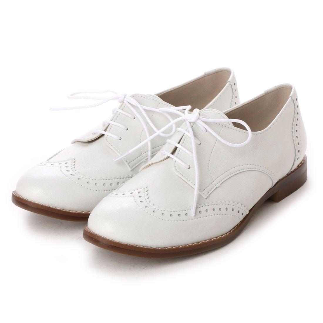 ロコンド 靴とファッションの通販サイトバニティービューティーvanitybeautyウィングチップフラットシューズ(ホワイト)