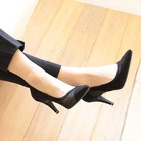 バニティービューティー vanitybeauty 【柔らかソフトインソール】アシンメトリーチュールパンプス (ブラックスエード)