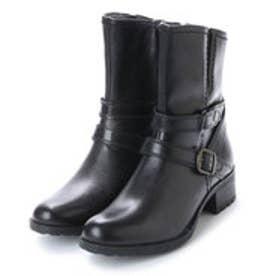 ベルフローリー BELL FLORRIE ベルフローリー ベルトデザインショートブーツ (ブラック)