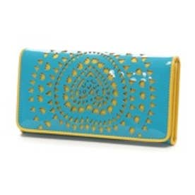 アガタ ルイス デ ラ プラダ AGATHA RUIZ DE LA PRADA エナメル合皮カットワーク大容量横長財布(ブルー)