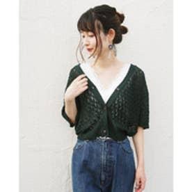 179ダブルジー 179/WG 透かし編み半袖カーディガン (40グリーン)