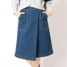 グランドパーク Grand PARK ミディアム丈ラップスカート (60ブルー)