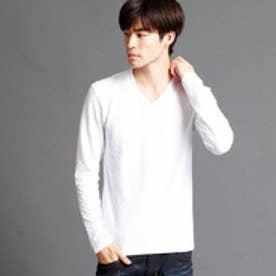 ハイダウェイ HIDEAWAYS 市松柄VネックTシャツ (09ホワイト)