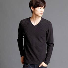 ハイダウェイ HIDEAWAYS 市松柄VネックTシャツ (49ブラック)