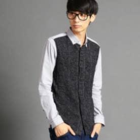 ハイダウェイ HIDEAWAYS アラン編みニット切り替えシャツ (93その他4)