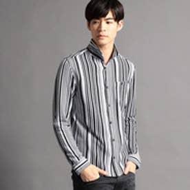 ハイダウェイ HIDEAWAYS ストライプ長袖カットシャツ (49ブラック)
