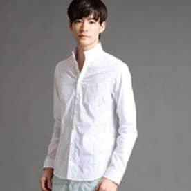ハイダウェイ HIDEAWAYS 小花柄ジャガードシャツ (09ホワイト)