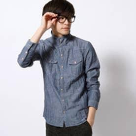 ハイダウェイ HIDEAWAYS インディゴスタンドカラーシャツ (67ネイビー)