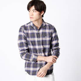 ハイダウェイ HIDEAWAYS 杢調チェックシャツ (67ネイビー)