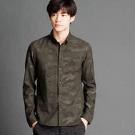 ハイダウェイ HIDEAWAYS 迷彩柄ボタンダウンシャツ (46カーキ)