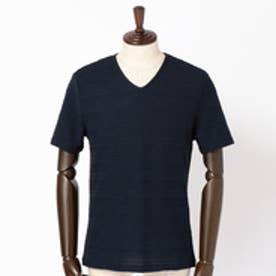 ハイダウェイ HIDEAWAYS タックボーダーVネックTシャツ (67ネイビー)