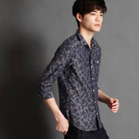 HIDEAWAYS リーフ柄ジャガード七分袖シャツ (67ネイビー)