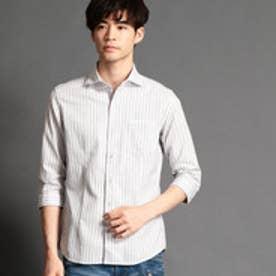 ハイダウェイ HIDEAWAYS 七分袖ストライプシャツ (09ホワイト)