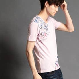 ハイダウェイ HIDEAWAYS タイルフォト柄Tシャツ (08ピンク)